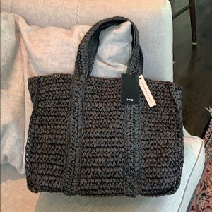 NWT Mango braided straw raffia tote bag.